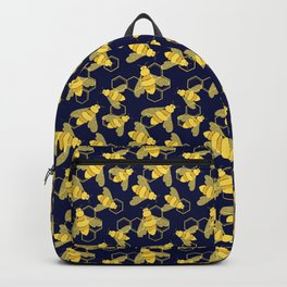 Golden Bees with Floral details on the wings and HoneyComb background Backpack