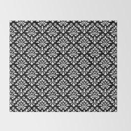 Damask Baroque Repeat Pattern White on Black Throw Blanket