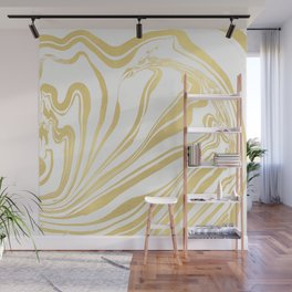 Bronze Copper Gold Rush Marble Ink Swirl Wall Mural