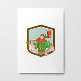Paul Bunyan LumberJack Shield Cartoon Metal Print