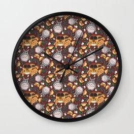 Ghibli pattern 01 (brown) Wall Clock