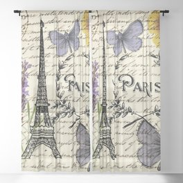 french botanical print purple butterfly lavender floral paris eiffel tower Sheer Curtain