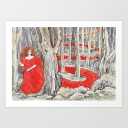 Tangled in woods Art Print