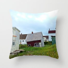 Lighthouse and shacks in North-Rustico PEI Throw Pillow