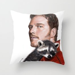 Drawing of Star-Lord and Baby Raccoon Throw Pillow