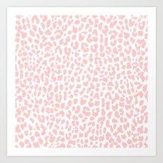 Pale Coral Leopard Art Print