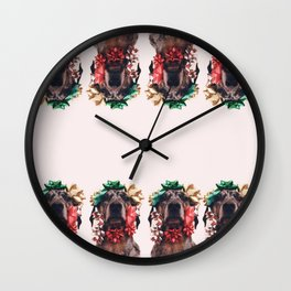 Bows and Mutts Wall Clock