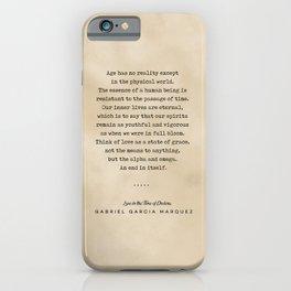 Gabriel Garcia Marquez Quote 01 - Typewriter Quote on Old Paper - Minimalist Literary Print iPhone Case