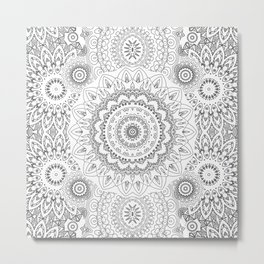 MOONCHILD MANDALA BLACK AND WHITE Metal Print