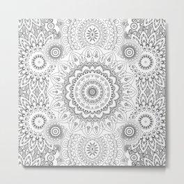MOONCHILD MANDALA BLACK AND WHITE Metal Print