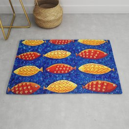 Red and Yellow Fish Rug
