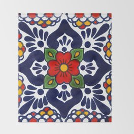 talavera mexican tile in blu Throw Blanket