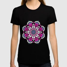 Black and White Flower in Magenta T-shirt