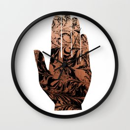 Spilled ink abstract hamsa hand copper japanese suminagashi painting Wall Clock