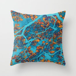 Colourful blue and orange trees Throw Pillow