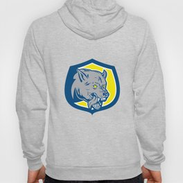 Angry Wolf Wild Dog Head Shield Retro Hoody