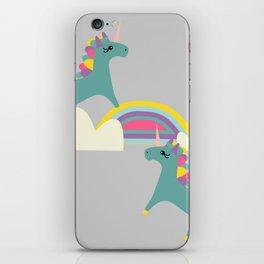 unicorn and rainbow gray iPhone Skin