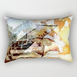 Giraffes in the Shadow of Fall Leaves Rectangular Pillow