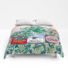 Jungle Botanical in Colorful Cans on Pink - Still Life Comforters