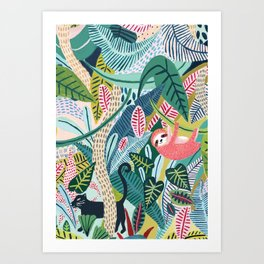 Jungle Sloth & Panther Pals Art Print