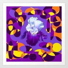 Artful Modern Purple-White Iris Yellow-Orange Design Art Print