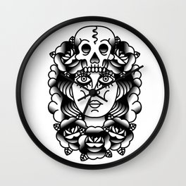 B&W Girl Wall Clock