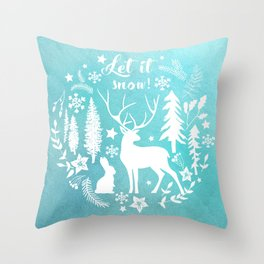 Let it snow! Christmas illustration Throw Pillow
