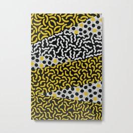 Yellow, Black & White Memphis Inspired Pattern Metal Print