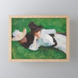 Two Girls on a Lawn by John Singer Sargent, 1889 Framed Mini Art Print
