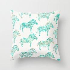 Zebras – Mint Palette Throw Pillow