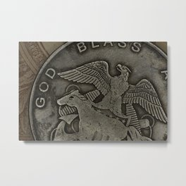 Close-up of a American old coin Metal Print