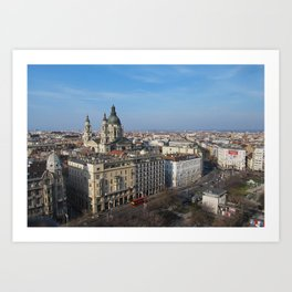 Panoramic view of Budapest and St. Stephen Basilica in Hungary Art Print