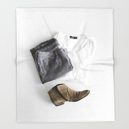 SHIRT - PANTS - BOOTS - MAN - PHOTOGRAPHY Throw Blanket