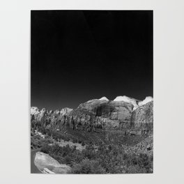 Zion Park View in B&W Poster