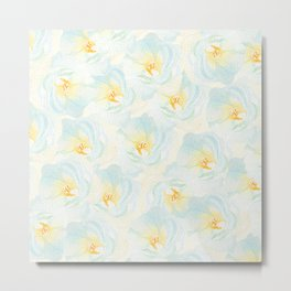 Watercolor hand painted pastel blue yellow floral pattern Metal Print