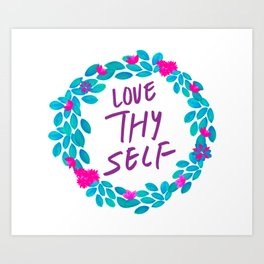 Tropical Watercolour Love Thy Self Art Print