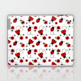 Red Ladybug Floral Pattern Laptop & iPad Skin