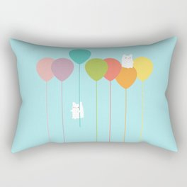 Fluffy bunnies and the rainbow balloons Rectangular Pillow