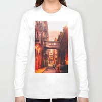 new york city Long Sleeve T-shirts featuring New York City Alley by Vivienne Gucwa
