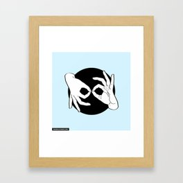 Sign Language (ASL) Interpreter – White on Black 03 Framed Art Print