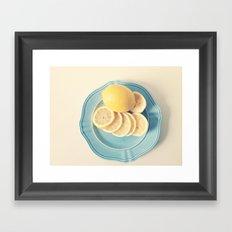 Lemons on Blue Framed Art Print