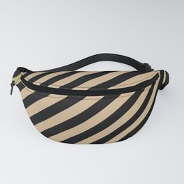 Tan Brown and Black Diagonal RTL Stripes Fanny Pack