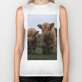 Scottish Highland Cattle Calves - Babies playing II Biker Tank