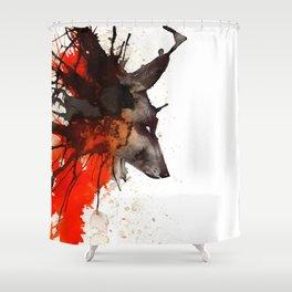 Ink Wolf Shower Curtain