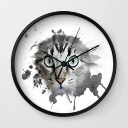 Cat Eyes Watercolor Wall Clock