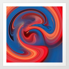 Red & blue flow Art Print