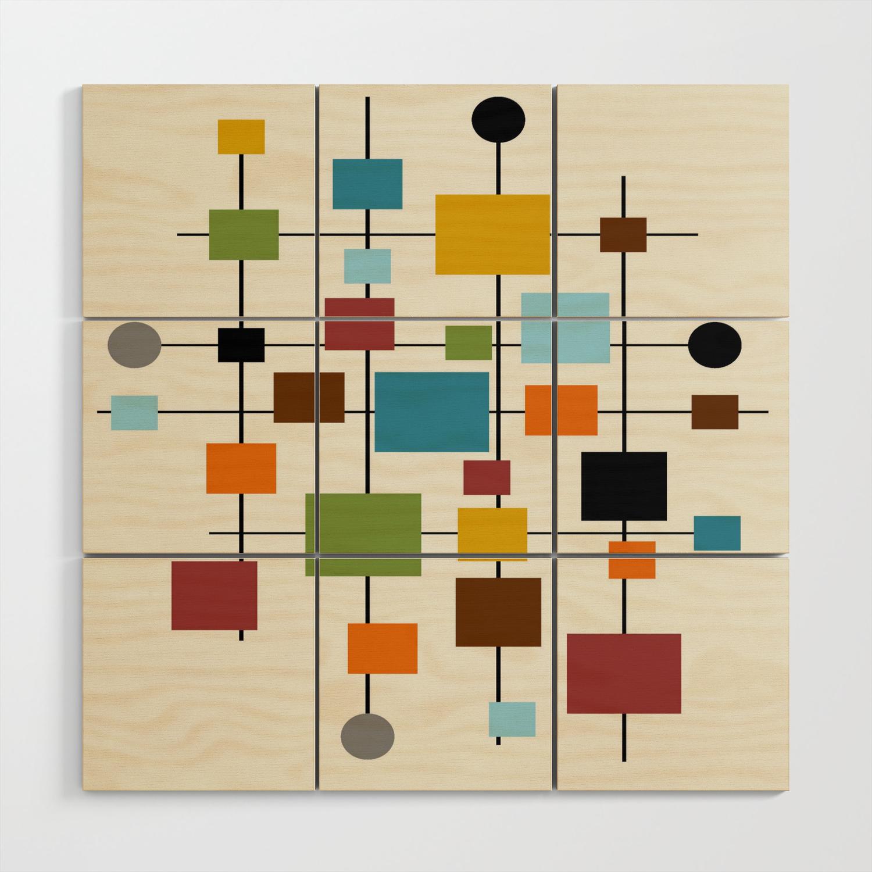 Mid Century Modern Art 20.20 Wood Wall Art by oldurbanfarmhouse