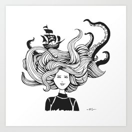 Sea Battle Hair Art Print