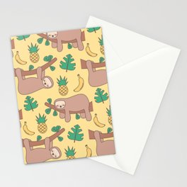 cute cartoon sloth seamless pattern background with exotic leaves, pineapples and bananas Stationery Cards