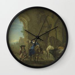 Jan Asselijn - Italianate landscape with travellers by a stream with cattle Wall Clock